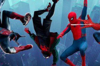 Майлз Моралес и Тоби Магуайр на этом постере фильма «Человек-паук: Через вселенные»